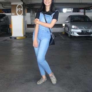 [RE-PRICE] Overall Denim Jeans (Baju Kodok)