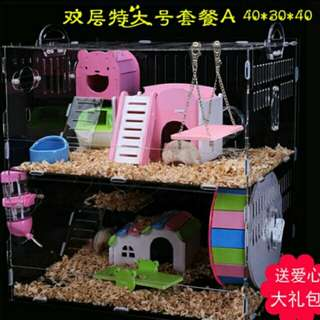 🌸Instocks🌸 40cm 2 Storey Acrylic Hamster Cage