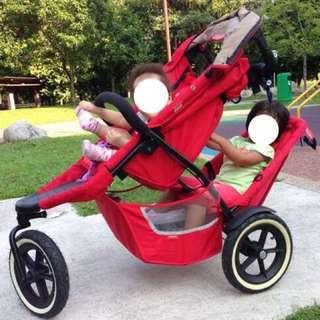 Preloved S$1.1K Phil and Teds jogging stroller for 1-2 kids