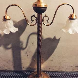 歐洲古董銅檯燈