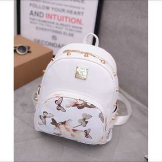 Brand new white studs korean floral backpack bag
