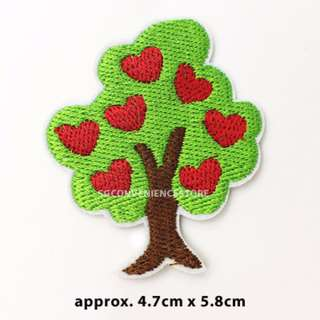Red Apple Love Heart Tree DIY Fabric Embroidery Iron On Patches / Sew on Applique Patch Badge