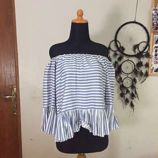 Off Shoulder Striped Blue and White