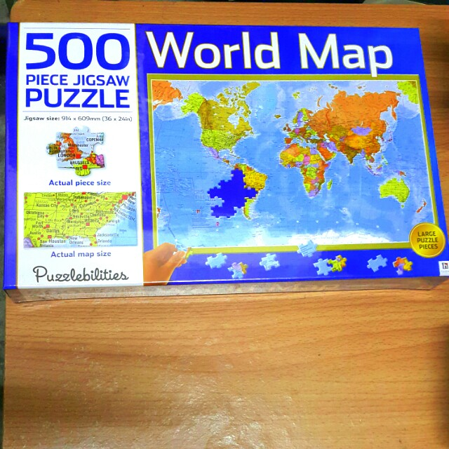 500 Piece World Map Jigsaw Puzzle Toys Games Other Toys On Carousell