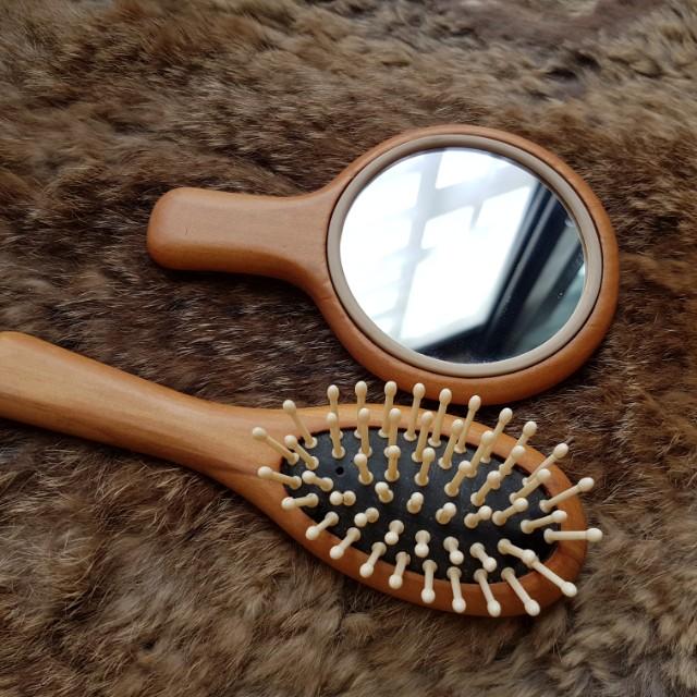 原木梳子鏡子