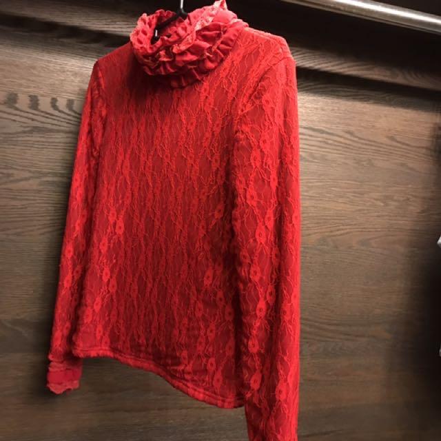 紅色內裏絨毛蕾絲高領套頭保暖衣