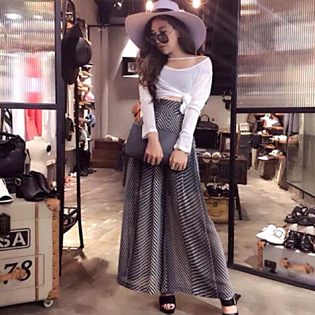 韓國顯瘦高腰雪紡寬褲