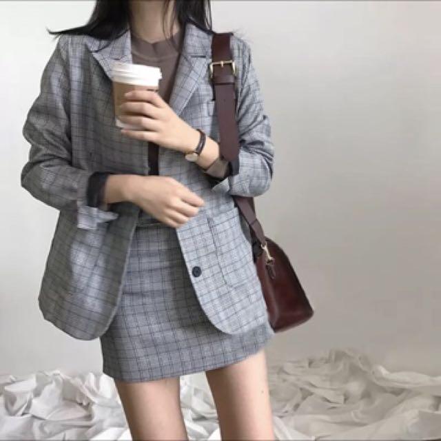 經典灰格紋西裝外套 套裝