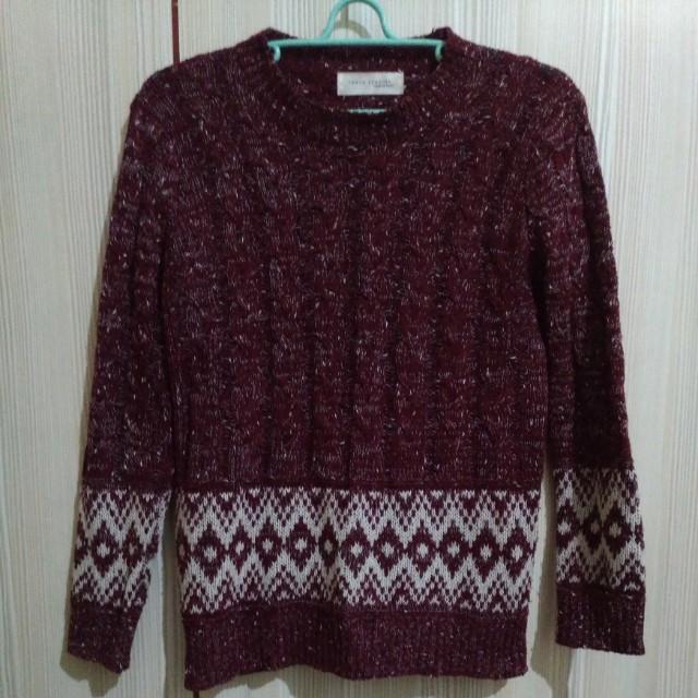 酒紅 圖騰 短 毛衣 #十月免購物我送你