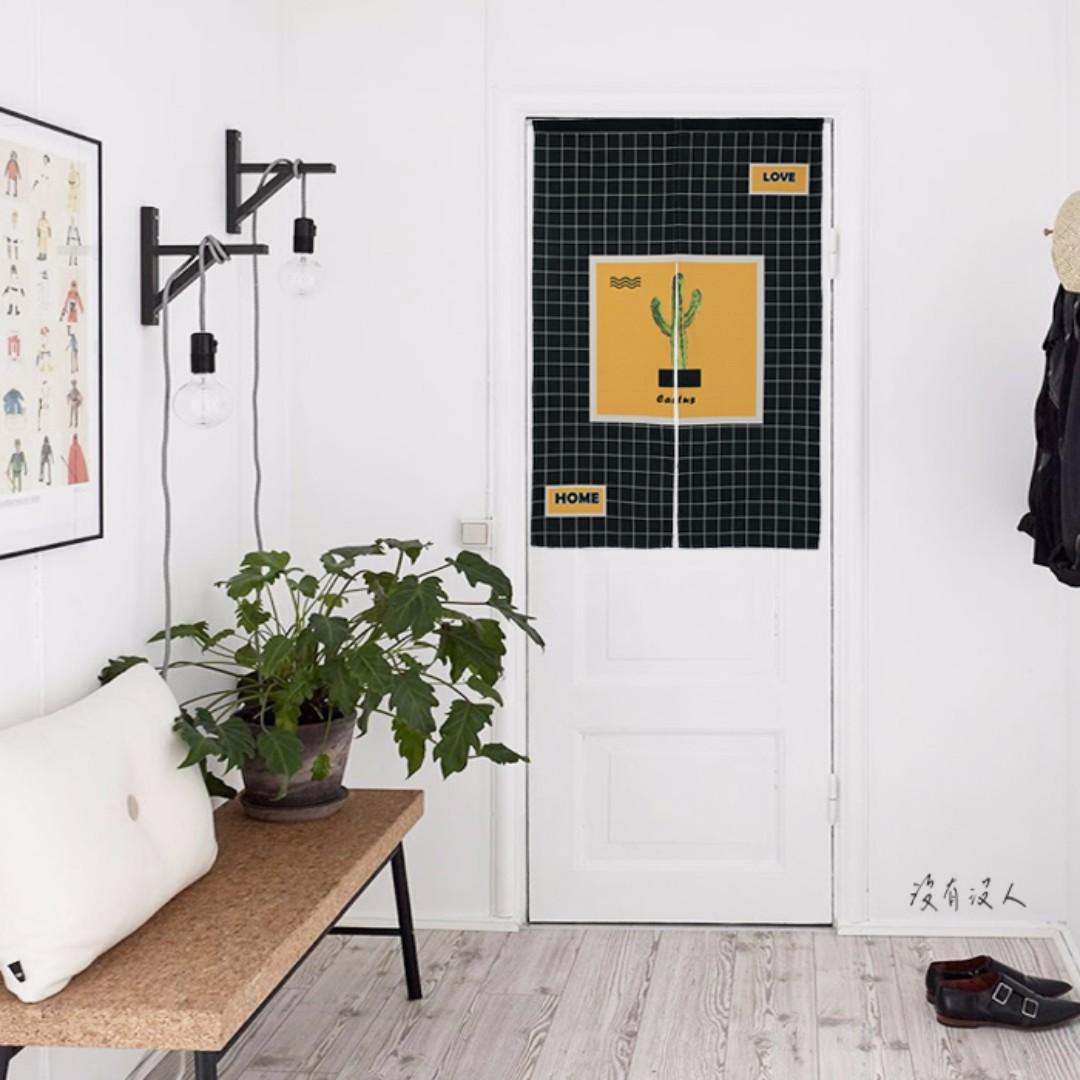 多肉樂園。仙人掌 格子棉麻門簾 簡約設計 黑白極簡 工業風 硬漢 工作室 書房 玄關 宿舍 浴室 遮光 隱私。沒有沒人