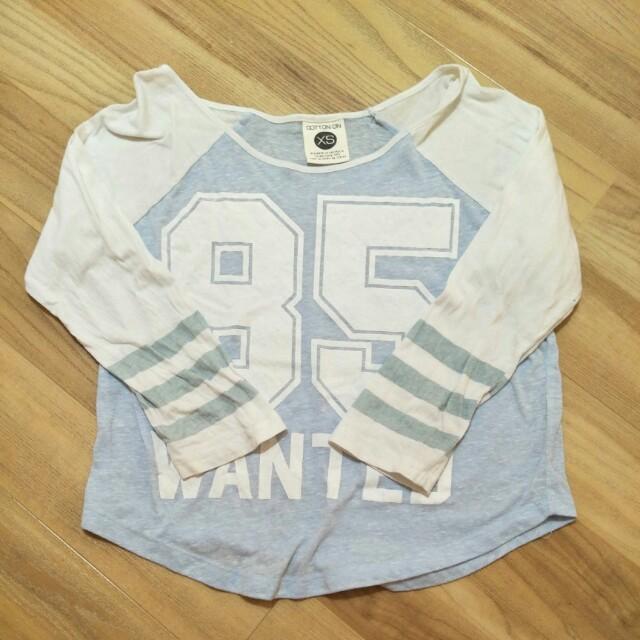 💋 Cotton On Baseball Blue White Top
