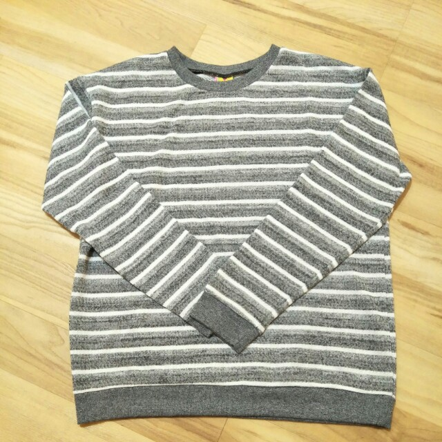 ❤ Grey And White Stripe Sweater