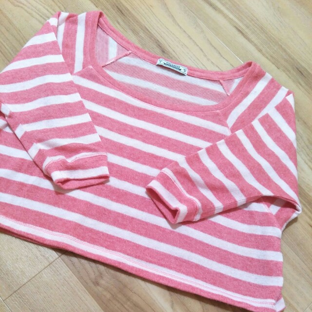 ❤ Pull and Bear Pink Stripe Sweater Crop Top