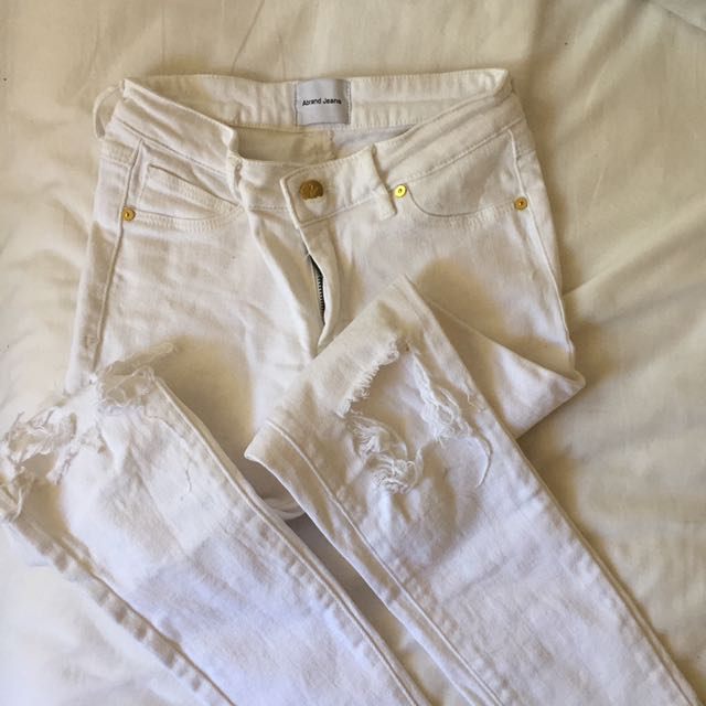 Abrand Ripped White Denim Jeans