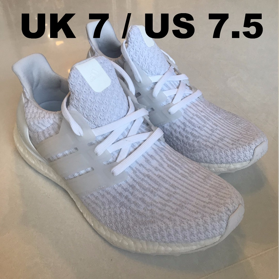 f1f1424c5743 ... adidas ultraboost 3.0 triple white uk 7 us 7.5 mens fashion footwear on  carousell