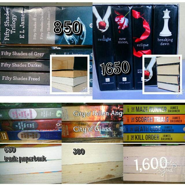 Assorted Books Series  Fifty Shades Of Grey Darker Freed Twilight Saga With Box Mortal Instruments Secret Series 1,2,4 Maze Runner