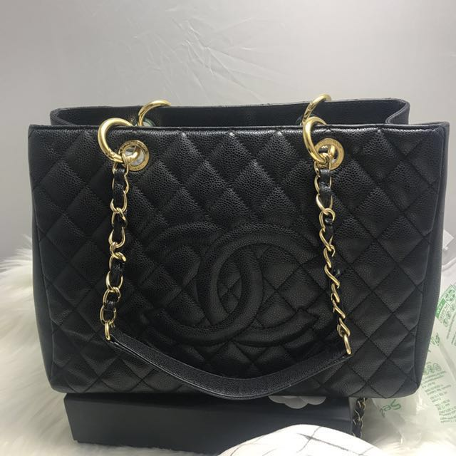 Authentic CHANEL black caviar gold hardware GST grand shopping Tote bag