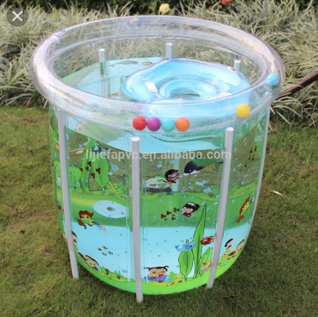 Baby inflatable pool w neck float