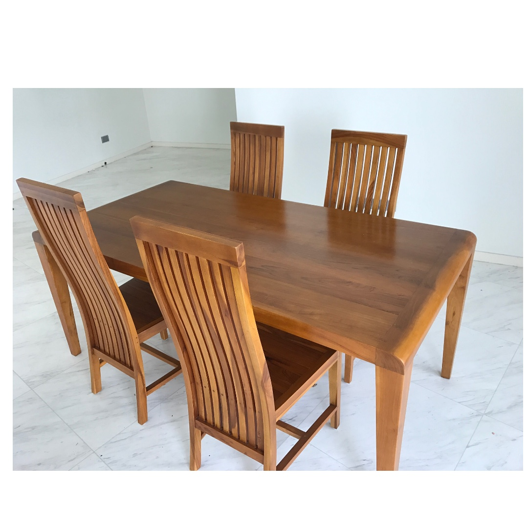 Beautiful Solid Teak Dining Table Set Furniture Tables Chairs On