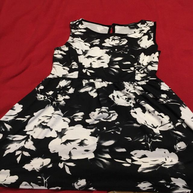 Black and white floral tank top dress
