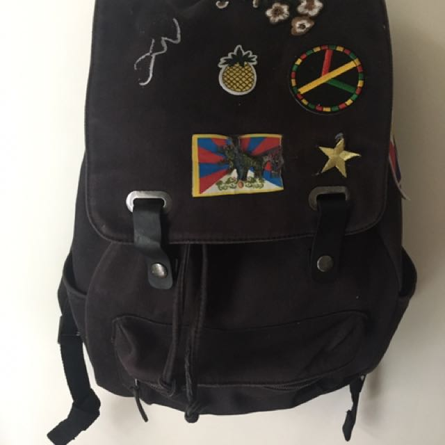 Black Everlane drawstring backpack with appliqués