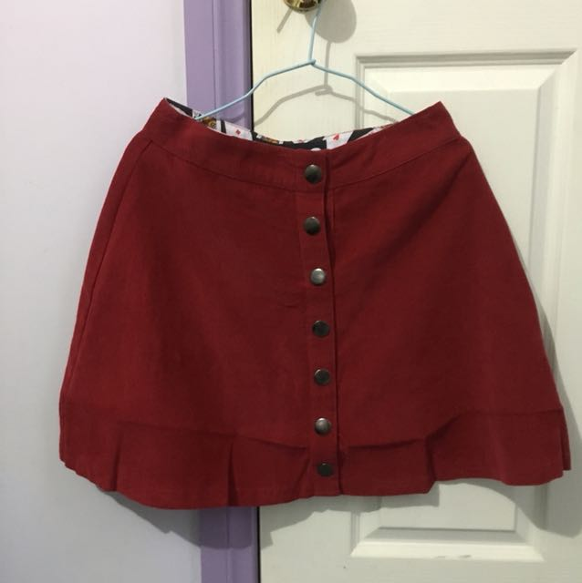 Black Friday Red Button Skirt