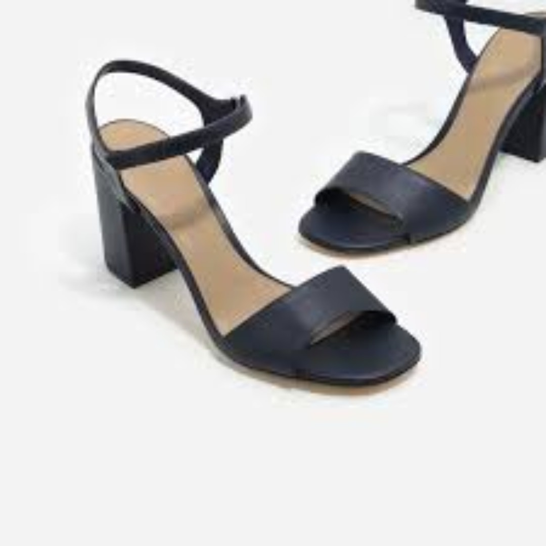 50b84a220a6 Charles   Keith Navy Basic Block Heel Sandals