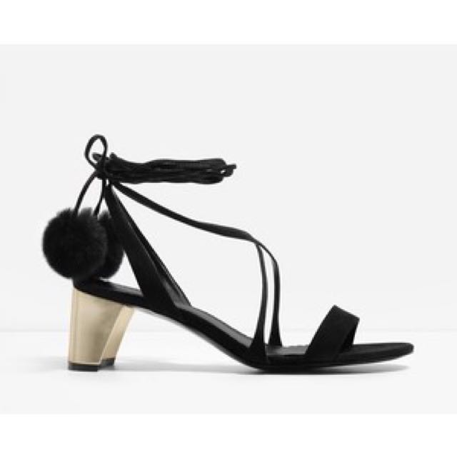 Charles and Keith POM POM LACE UP SANDALS