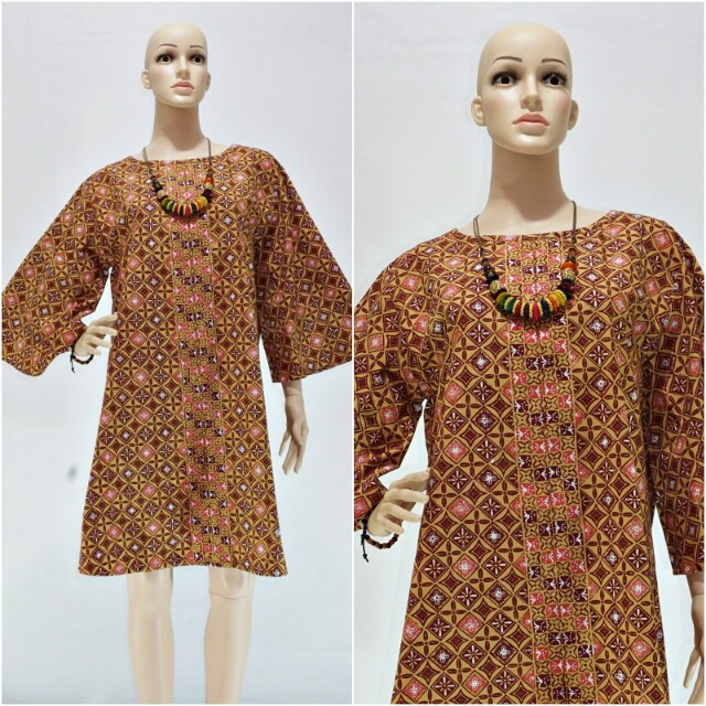 Dress Pesta Batik Cap Coklat Jumbo Dsc02372 Women S Fashion