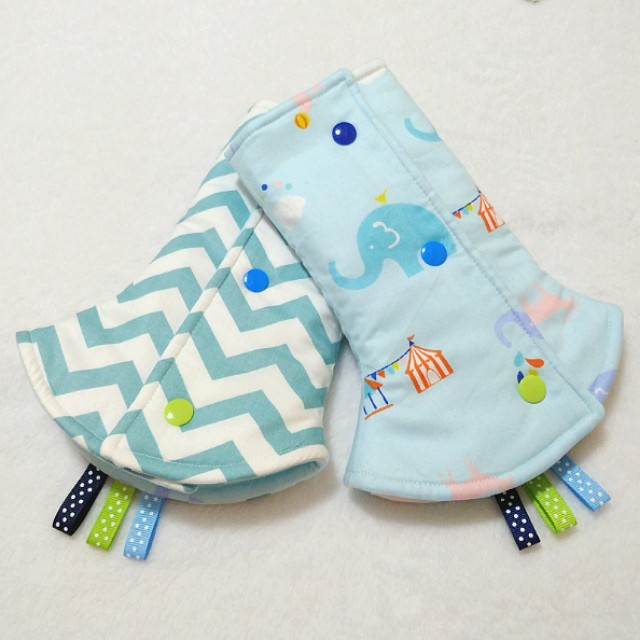 Drool Pads - Elephant Circus and Green Zigzag