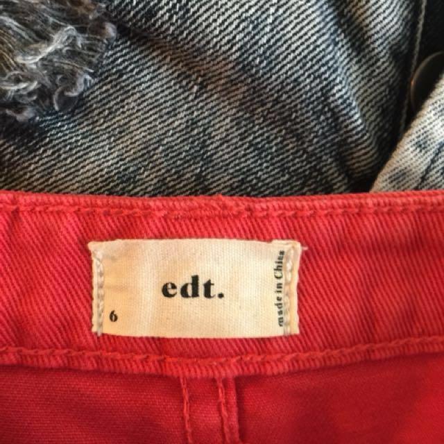 EDT red denim skirt