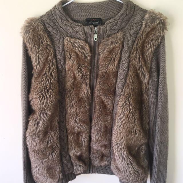 Faux fur cardigan jacket boho medium (oversized)