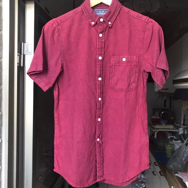 [final price] Topman 勃根地酒紅單寧襯衫