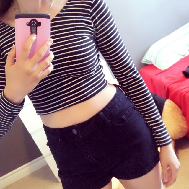 American apparel  black and white top