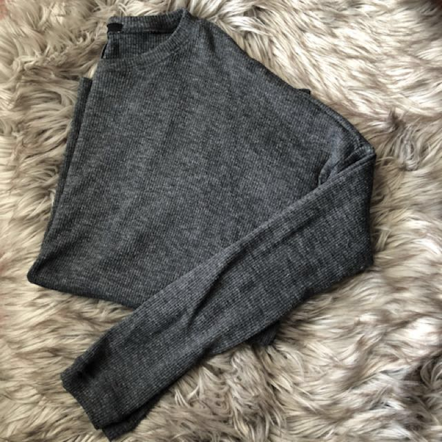 Grey Long Sleeved Shirt with Slits