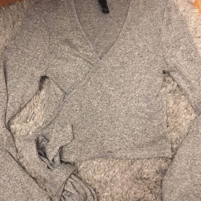 Grey wrap around top