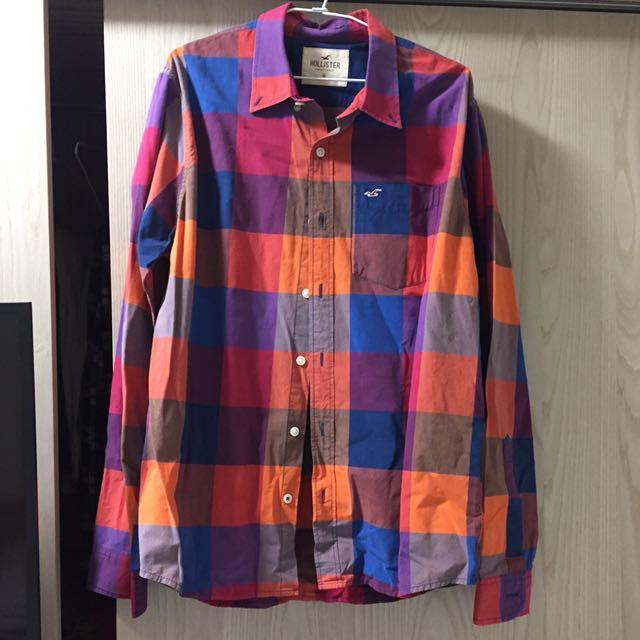 HOLLISTER男生格紋長袖襯衫