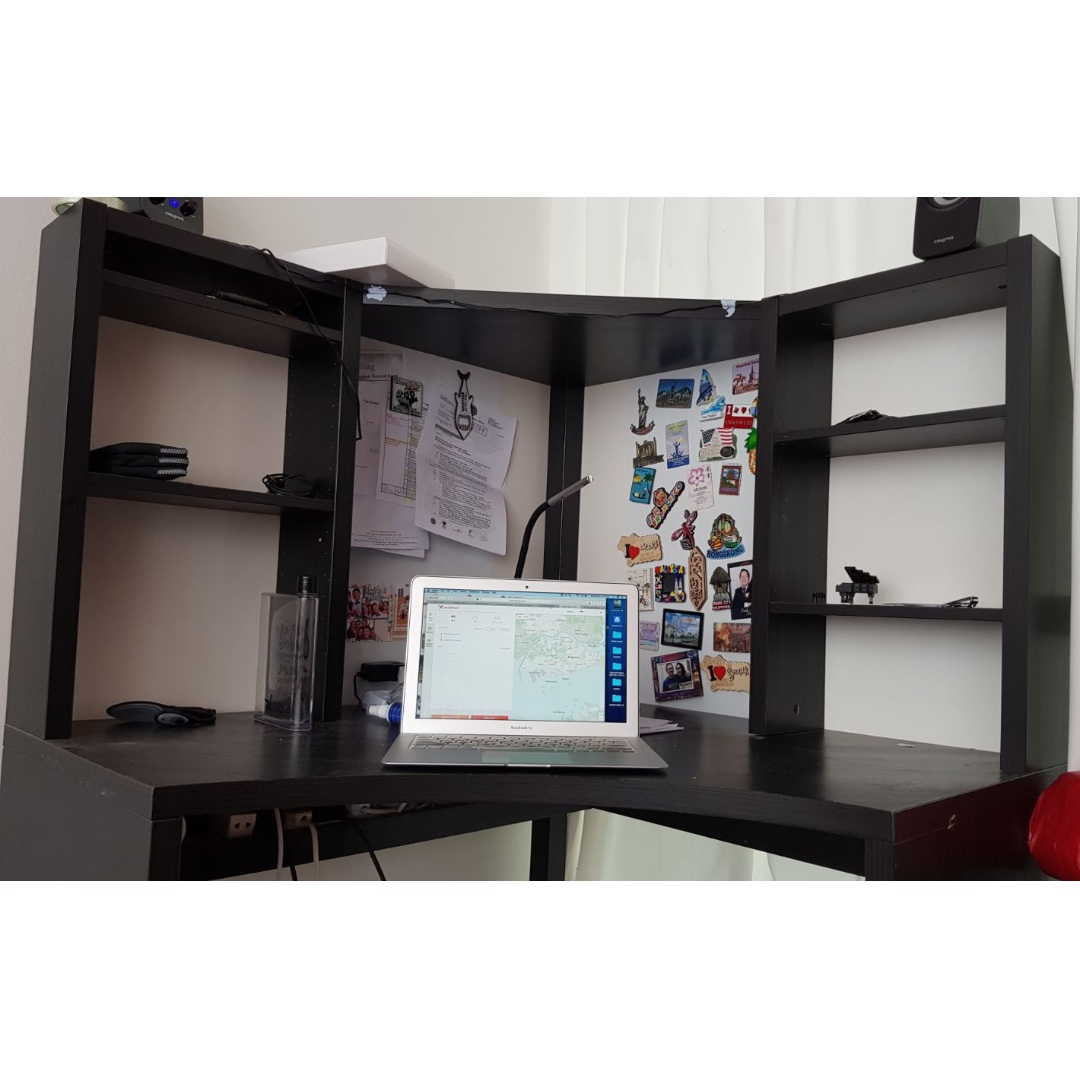 Ikea Book Shelf / Study Table / Corner (Immediately Because we are moving)  MICKE Corner work station, black-brown