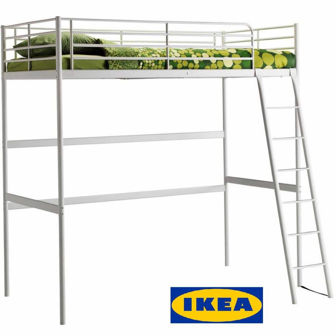 IKEA Tromso Loft White Bed Frame + Mattress, Home & Furniture ...