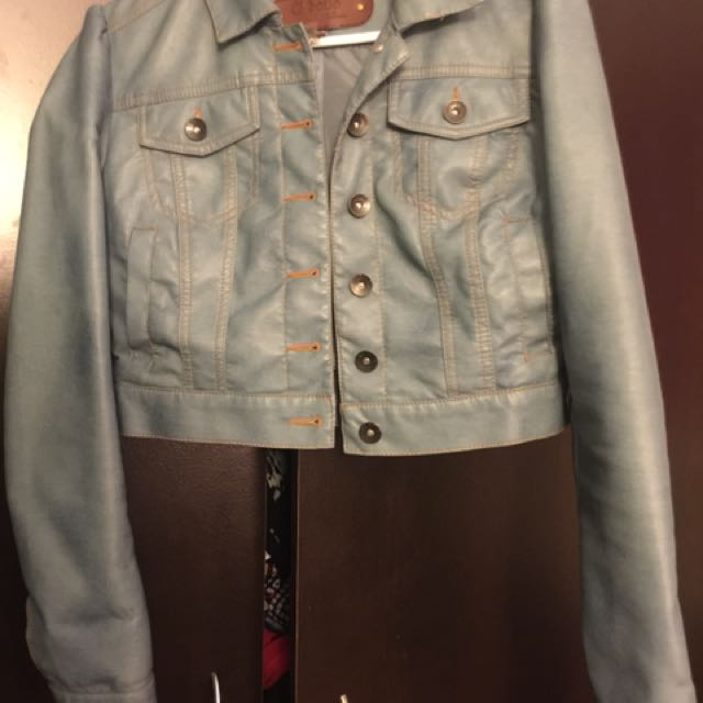 Leather short denim color jacket