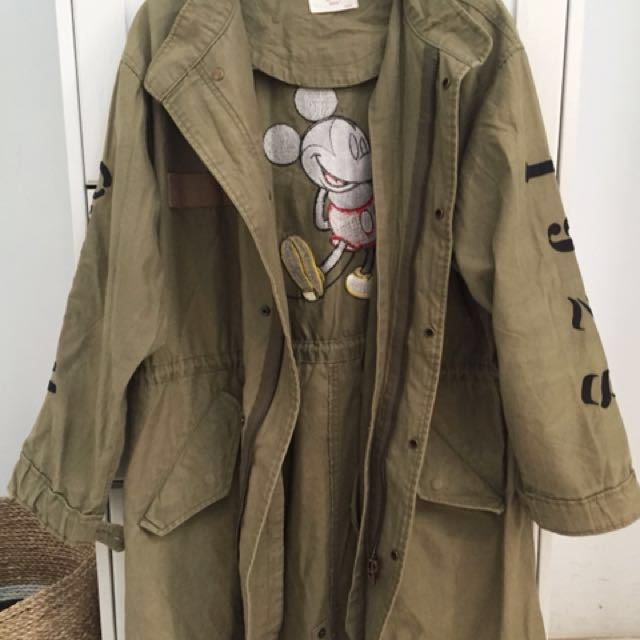 Mickey Mouse Green Army Parka