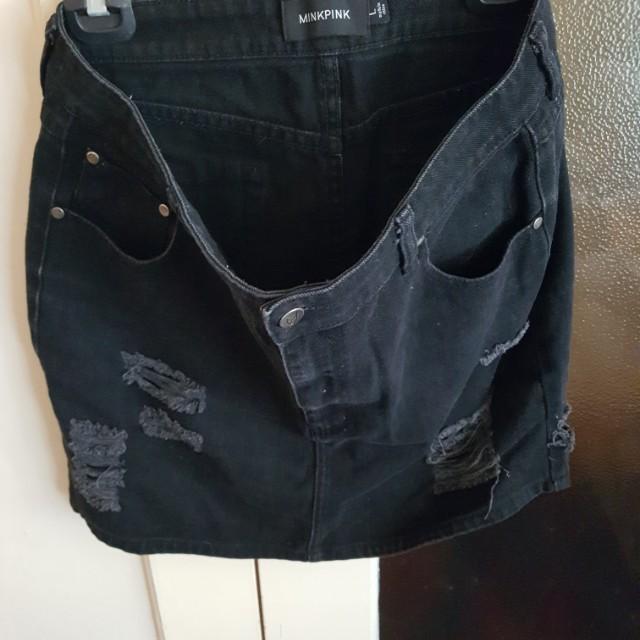 Minkpink black denim skirt size L