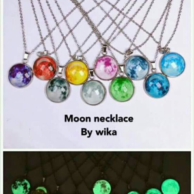 Moon necklace glow in the dark.