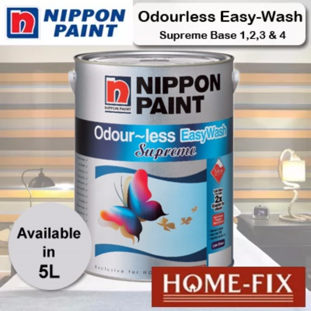 [New] 1 Litre Nippon Paint Odour-less EasyWash Supreme White 7092586