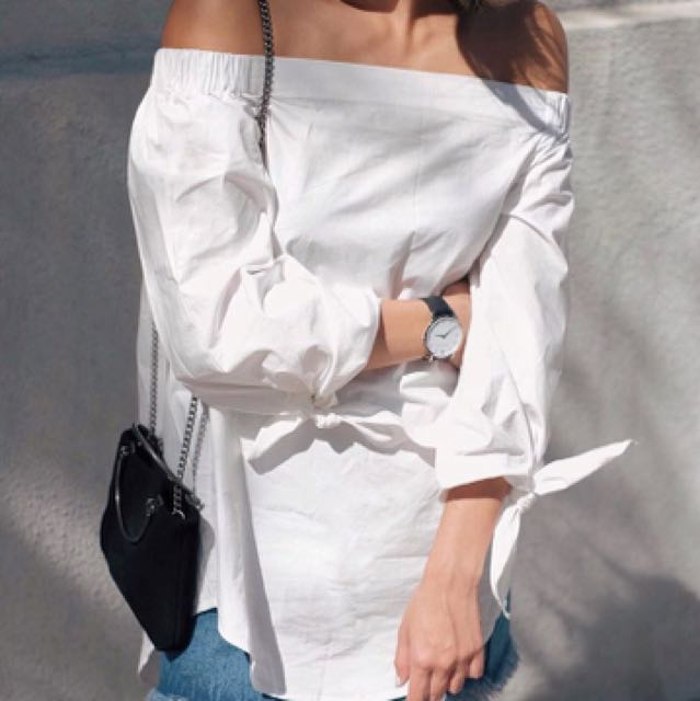 Off The Shoulder White Oversized Top