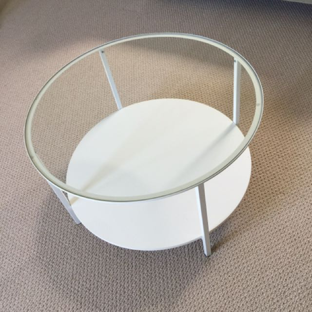 Off White glass Top Table