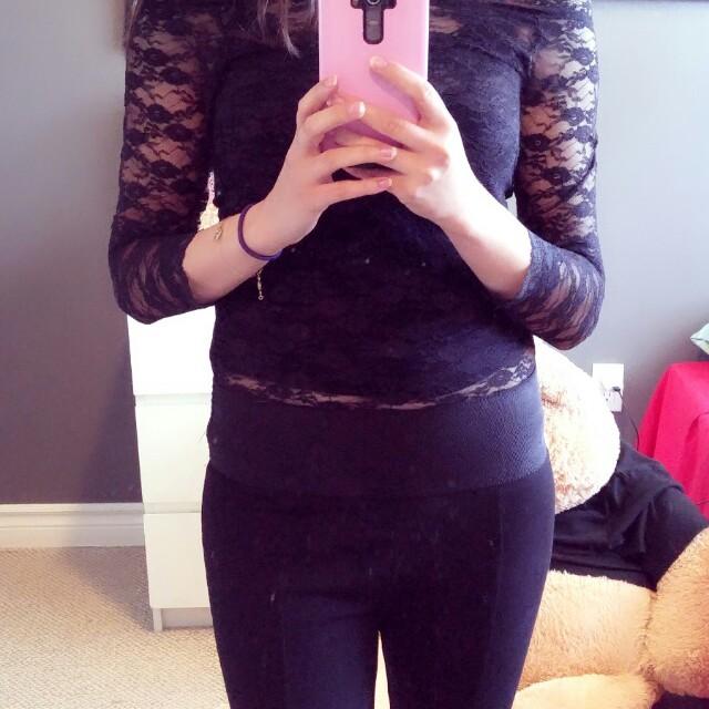 Off-shoulder black lace top