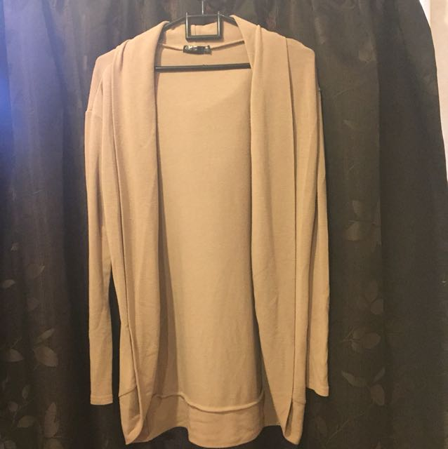 Open front tan cardi