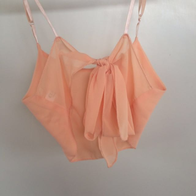 Pastel pink/orange tie up crop top