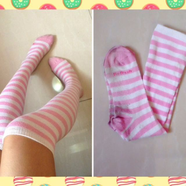 Pink striped knee socks